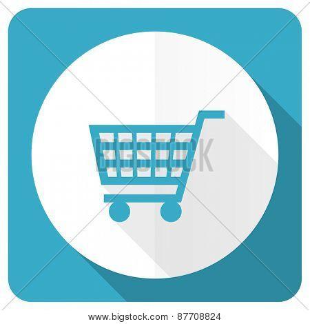 cart blue flat icon shop sign