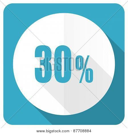 30 percent blue flat icon sale sign