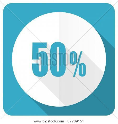 50 percent blue flat icon sale sign