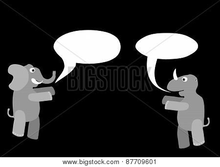 Rhino and elephant cartoon animals with communication bubbles isolated on black background