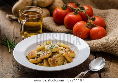 Homemade Potato Gnocchi With Nuts And Parmesan