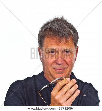 Smart Smiling Man In Studio