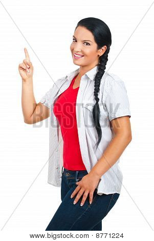 Casual Woman Pointing To Copy Space