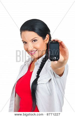 Attractive Woman Offering Phone Mobile