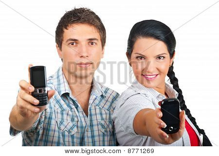 Couple  Showing Phones Mobile