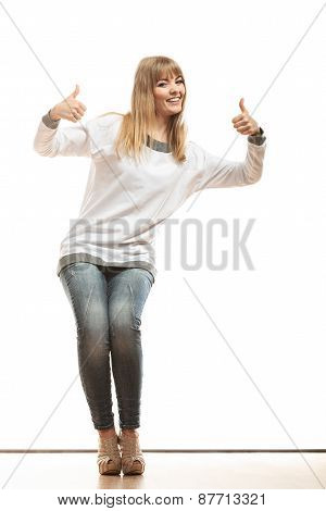 Fashion Woman Making Thumb Up Sign