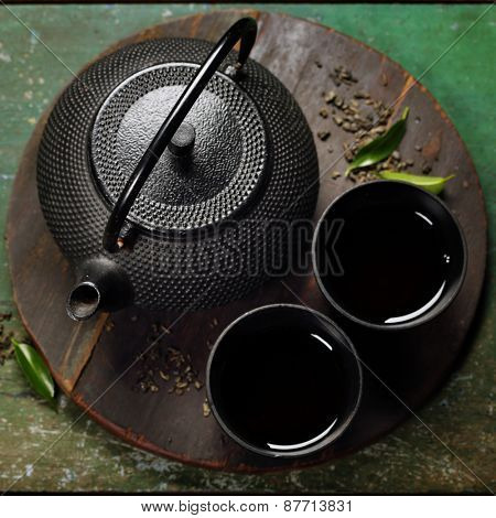 Black iron asian tea set,vintage style