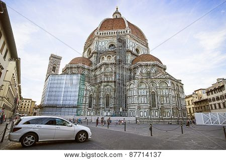 Cathedral Of Saint Mary Of The Flower In Florence In Italy In Summer