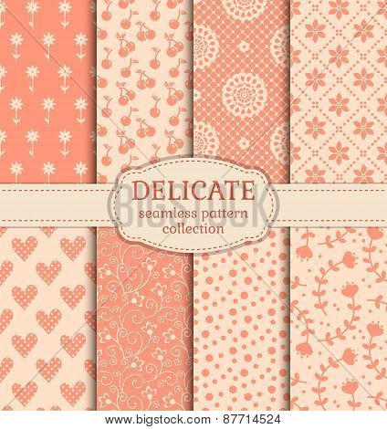 Delicate Seamless Patterns. Vector Set.