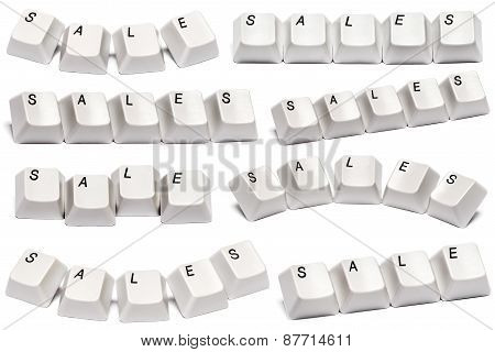Word Sale From Computer Keyboard Buttons Isolated On White Background