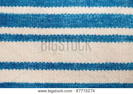 Towel With Blue Horizontal Stripes. Macro