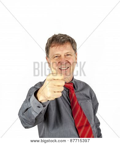Portrait Of Handsome Business Man Showing Thumbs Up Sign