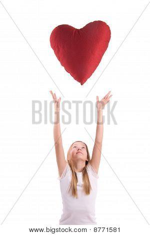 coração de menina e vermelho