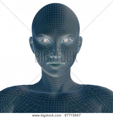 Concept or conceptual 3D wireframe young human female or woman face or head isolated on background