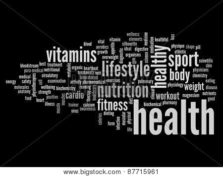 High resolution concept or conceptual abstract health word cloud or wordcloud on black background