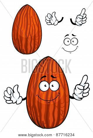 Cartoon shelled almond nut character