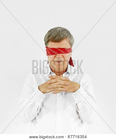 Businessman With Necktie Covering His Eyes