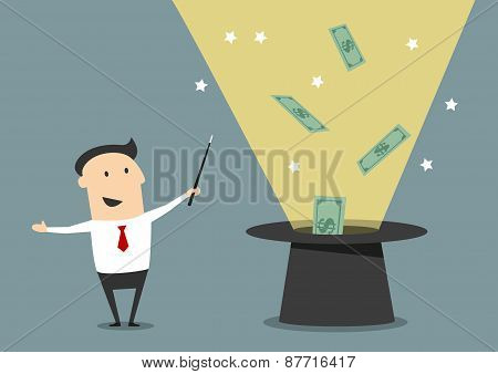 Wizard businessman with magic hat and money