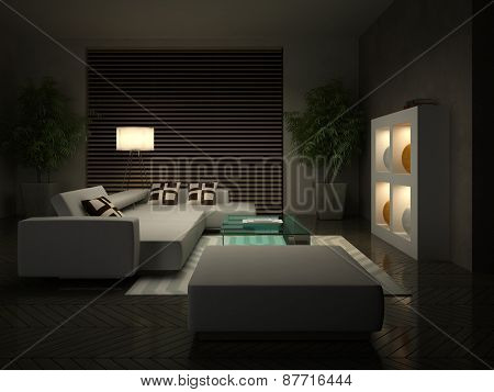 Part of the modern interior in evening 3D rendering