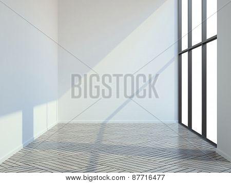 Empty room with parquet floor 3D rendering