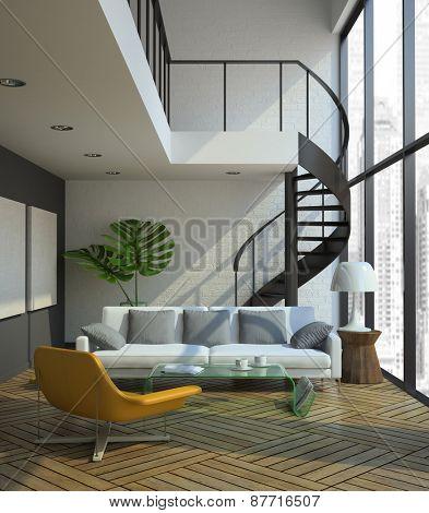 modern loft interior 3D rendering