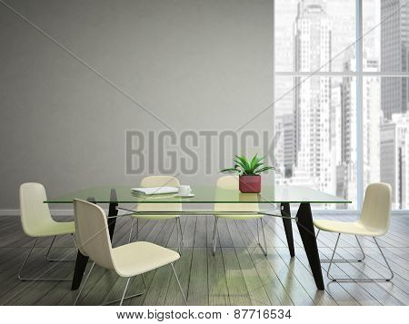 dining room wish tabel and chairs 3D rendering