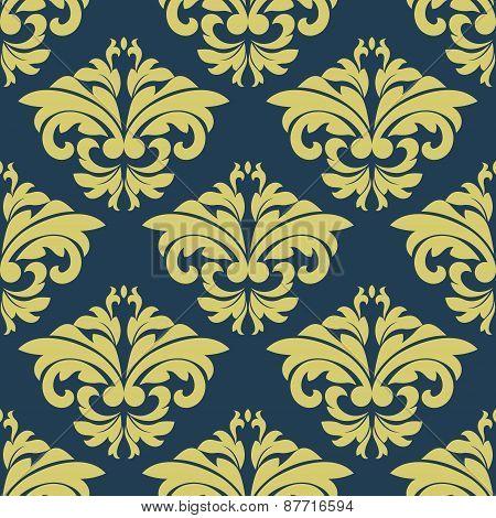 Vintage floral yellow damask seamless pattern