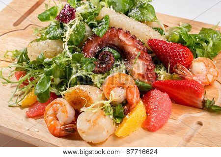 Seafood salad with octopus and shrimps