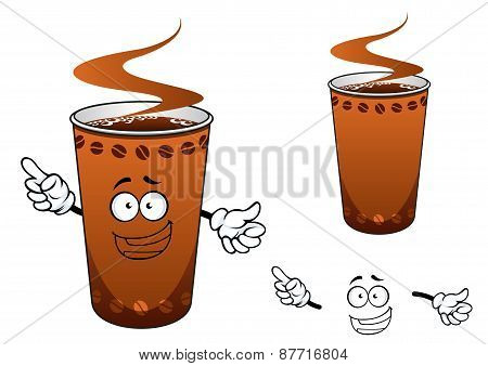 Takeaway cup of coffee cartoon character