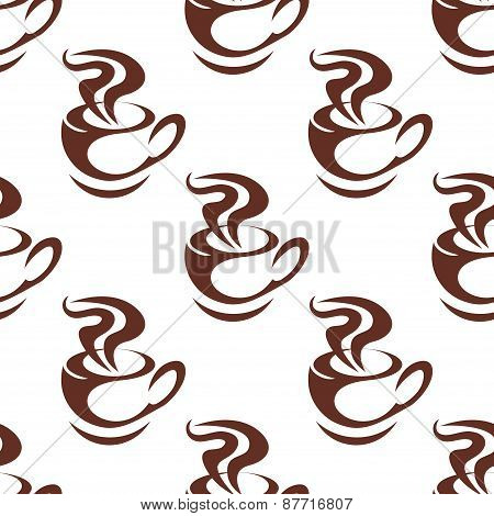 Seamless pattern with steaming cups of coffee