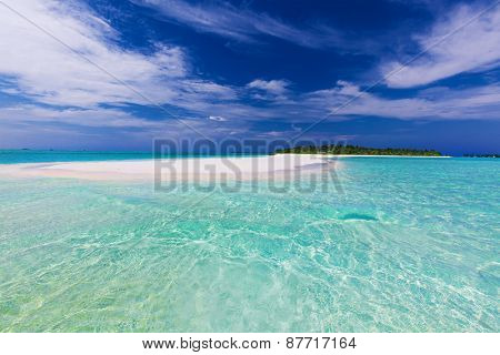 Long sand bar at the end of tropical island with pristine water