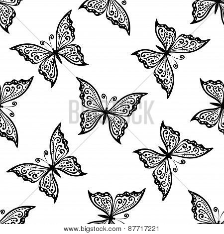 Outline flying butterflies seamless pattern