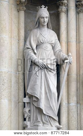 ZAGREB, CROATIA - APRIL 04: Saint Catherine of Alexandria, portal of the cathedral dedicated to the Assumption of Mary and to kings Saint Stephen and Saint Ladislaus in Zagreb on April 04, 2015