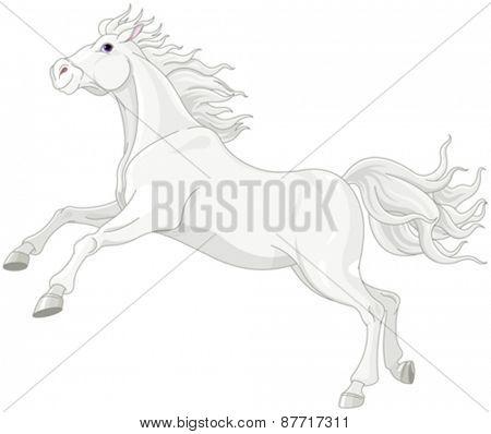 Illustration of beautiful white horse