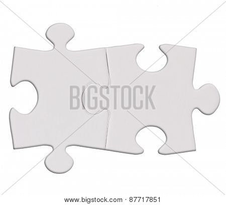 twoPuzzle pieces isolated on the white  background cutout