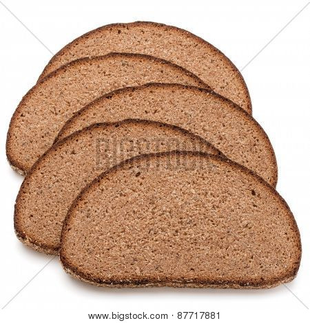 Slice of fresh rye bread isolated on white background cutout