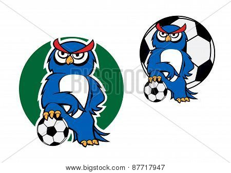 Cartoon owl character with football ball