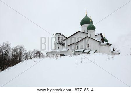 Russian winter. Epiphany Church in the Zapskovye in Pskov, Russia.