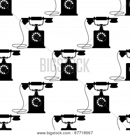 Vintage telephones with mouthpiece handset seamless pattern