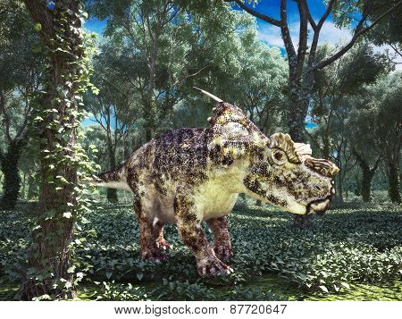 Prehistoric dinosaur roaming the woods