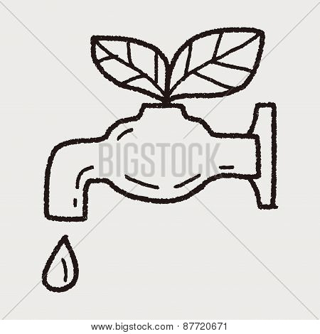 Environmental Protection Concept; Conserve Water, Protect The Environment; Doodle