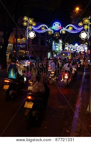 Motor Scooters And  Lights For  Tet Lunar New Year