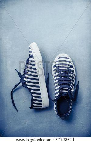 Stripe Sneaker in Blue