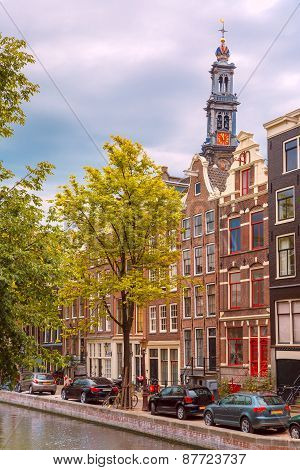 Amsterdam canal, Westerker and typical houses, Holland, Netherlands.