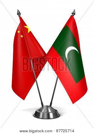 China and Maldives - Miniature Flags.