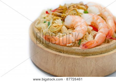 Noodles With Vegetables And Prawn In Wooden Bowl