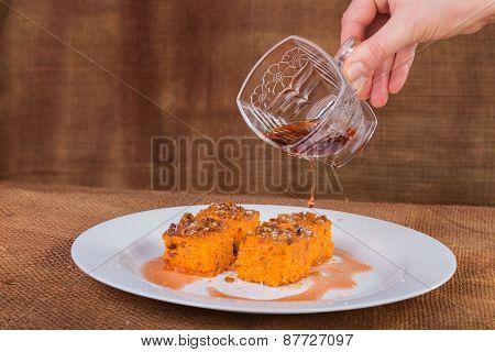 East dessert. Carrot cake