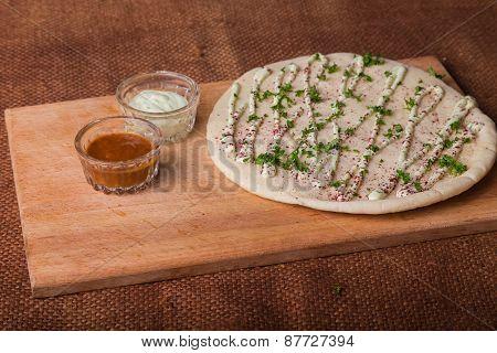 Arab tortilla bread. Bread with spices.