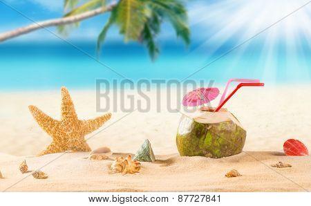 summer coconut drink on the beach. Summer paradise.