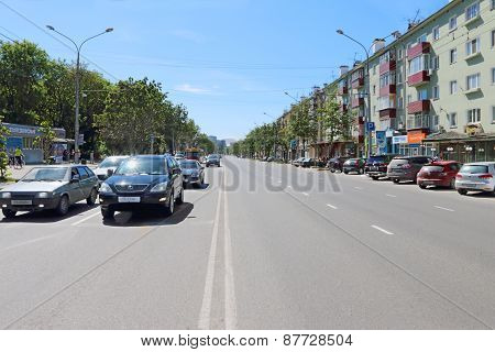 Perm, Russia - Jun 6, 2013: Road Of Lenin Street. Length Of Lenin Street Is 3600 M